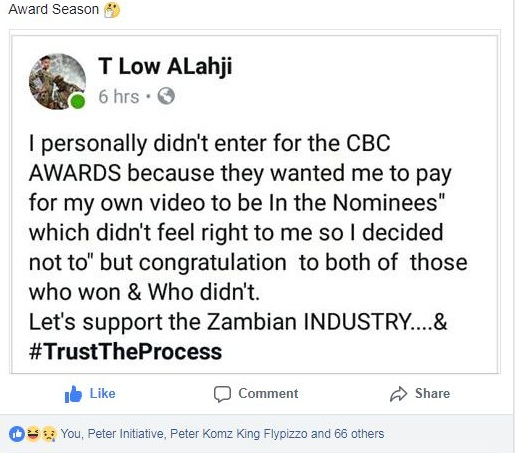 T Low, Tiye P & Sanga Tembo React Over The CBC Television Awards | SEE REACTIONS (⊙⊙)